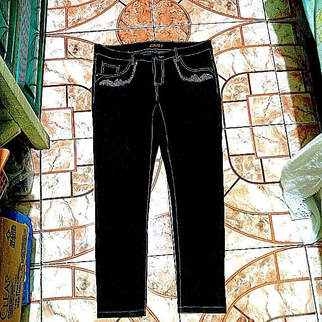 Solid Color Black Stitch Denim Jeans