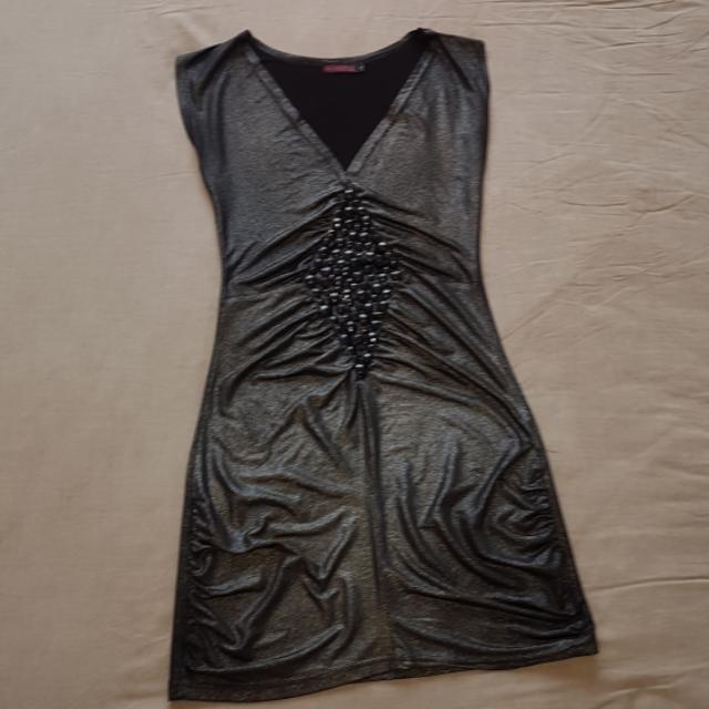 Stretch Black & Silver Party Mini Dress