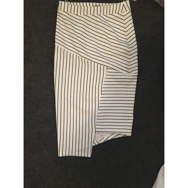 Stripe Black And White Boutique Bodycon Skirt Size 6