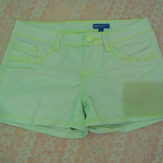 STUDDED NEON SHORTS