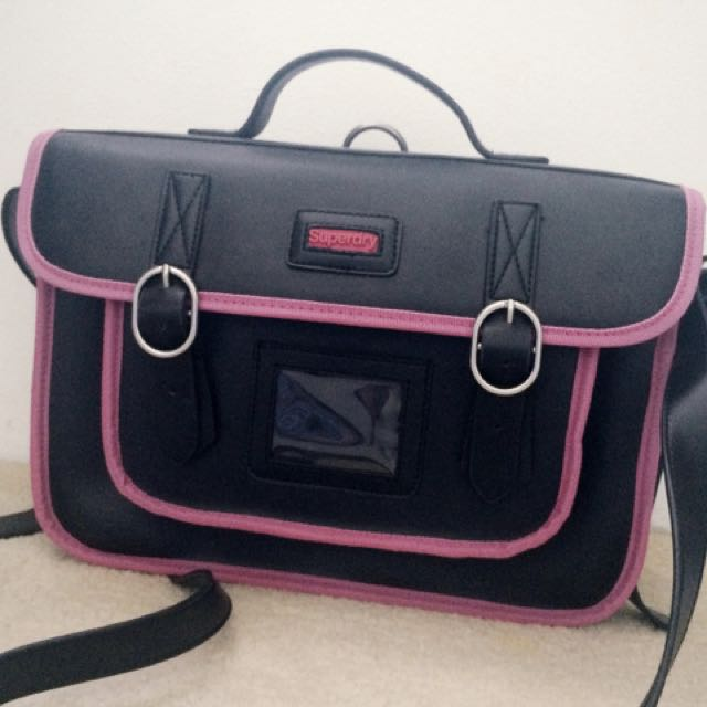 Superdry Pink And Black Cambridge Satchel