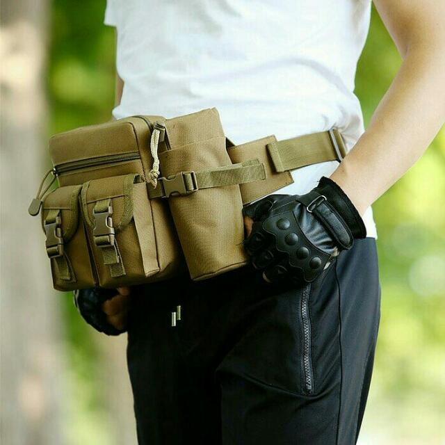 Tas Pinggang/  Waist Bag / Tactical Army Bag Dengan Tempat Botol
