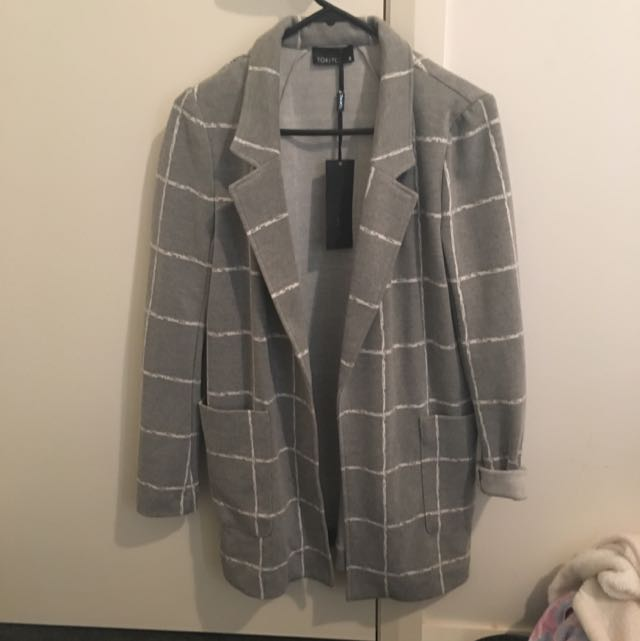 Tokito Grey And White Check Checkered Blazer Jacket Coat 8