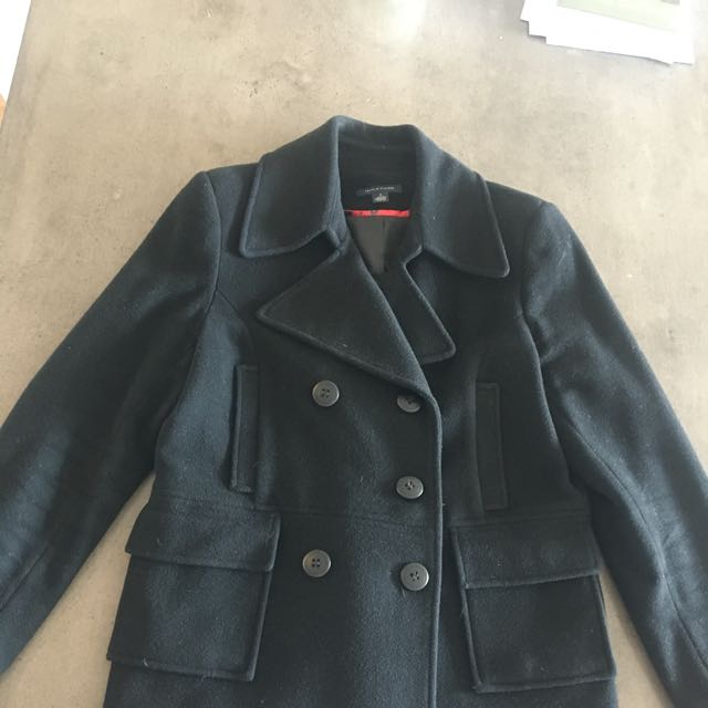 Tommy Hilfiger Black Wool Peacoat. Size US 8 (Aus 12).