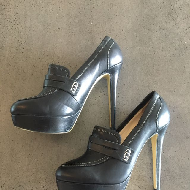 Tony Bianco Size 7 Black Leather Heels