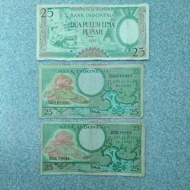 Uang 25 Rupiah (1958 + 1959) Uang 100 Rupiah (1984 + 1992)