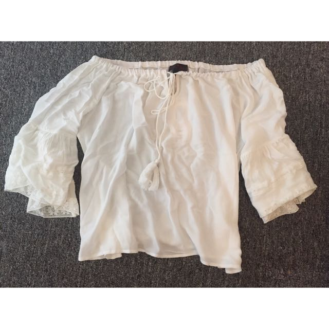 White Boho Top Size 10