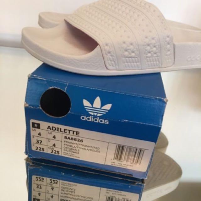 White/white Adidas Adilettes