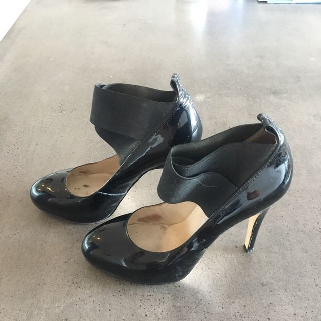 Wittner Patent Black Heels. Size 38 (about 7)