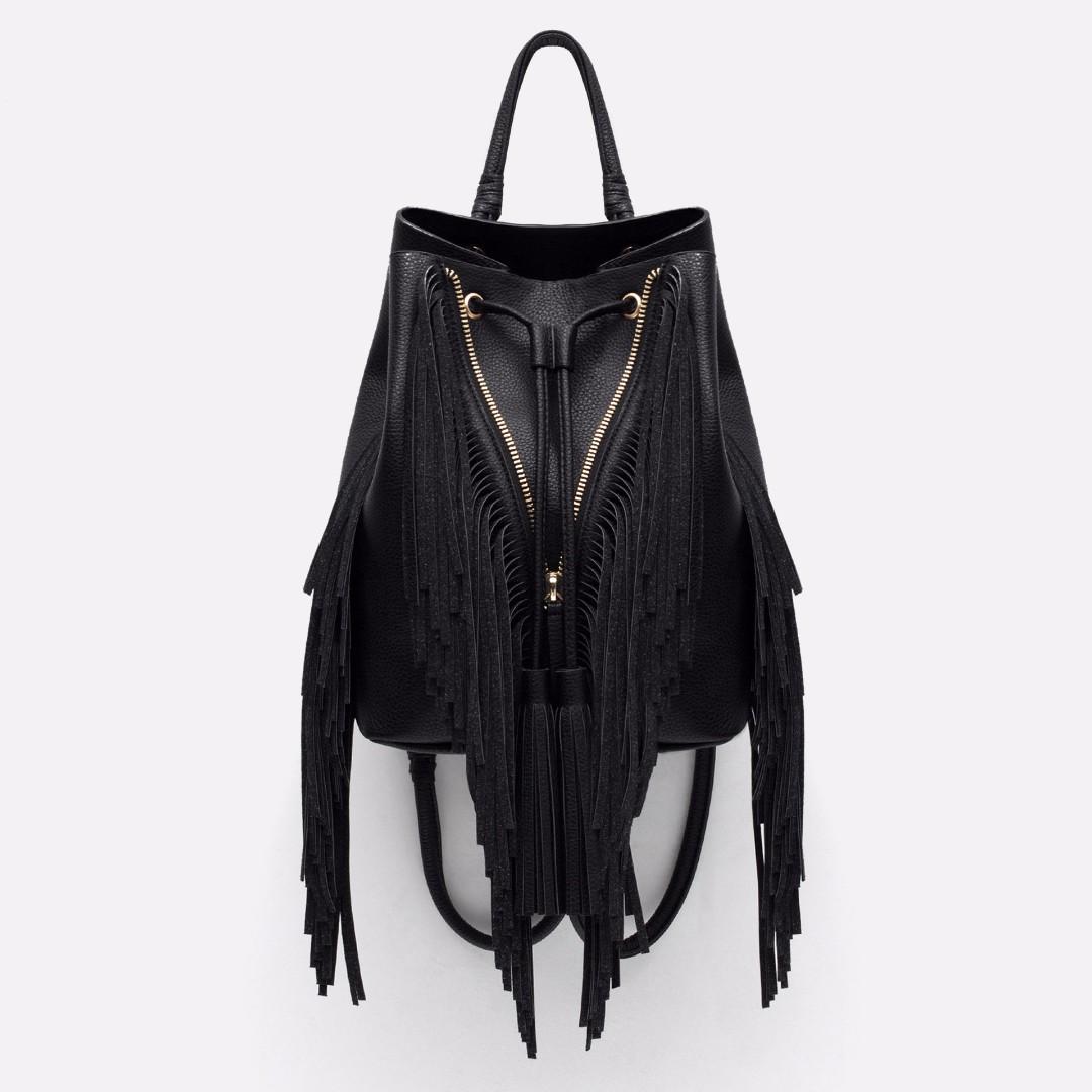 Zara fringed bucket-style backpack