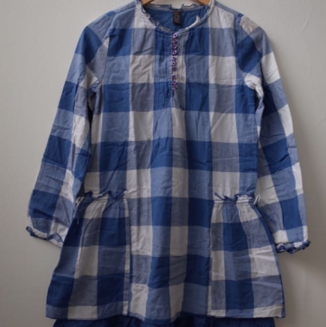 Zara Kids Girl Blue Checkered Blouse Tunis blus biru kotak-kotak tunik