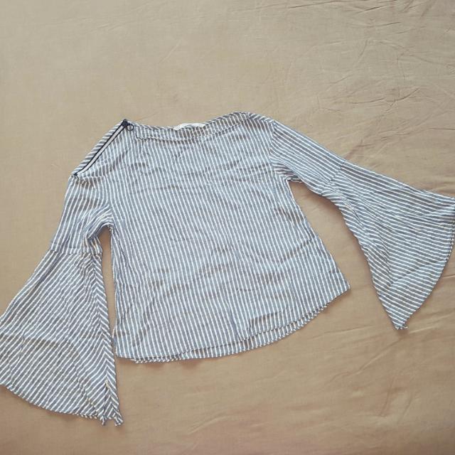 Zara Stripes Trapeze Sleeve Top Size S
