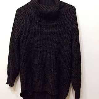高領 毛衣 黑色