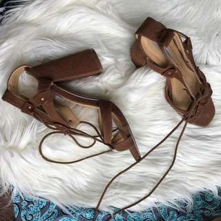 Ankle Lace Nude Heels