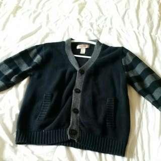 Boys Black And Grey Long Sleeve Cardigan