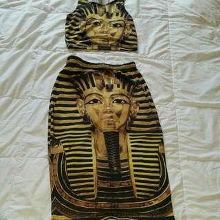 2 Piece Bodycon Nefertiti Skirt Set