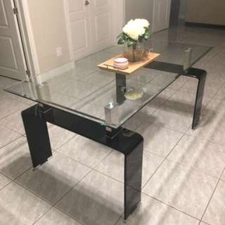 REDUCED BY 20% - MODERN GLASS DINING ROOM TABLE