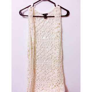 F21 Coachella Long Fringed Knit Vest