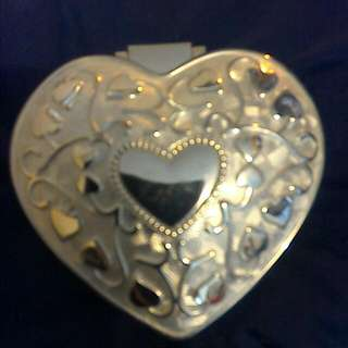 Silver  Heart Shaped Trinket Box
