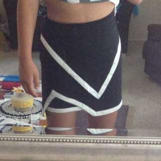 Black and White Fold over Skirt