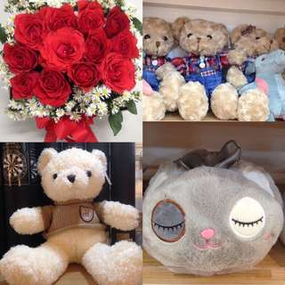 Flowers In A Box And Stuff Toys