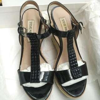 Steve madden 楔型 厚底 涼鞋 女鞋 黑色 5號半  36號 #五百元好女鞋