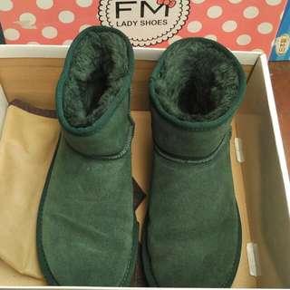 FM Lady Shoes 36號 綠色 麂皮 短靴 #五百好女鞋