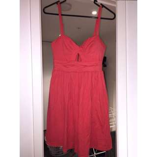 Coral Dress With Cute Cutout