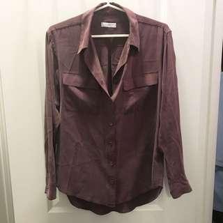 """EQUIPMENT Signature Silk Blouse Size Small In """"Goji"""""""