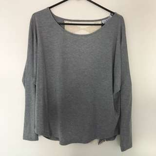 Grey Long Sleeved Top Lace Back