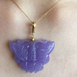 Purple Jade Butterfly Necklace 14K Gold Clasp & Chain