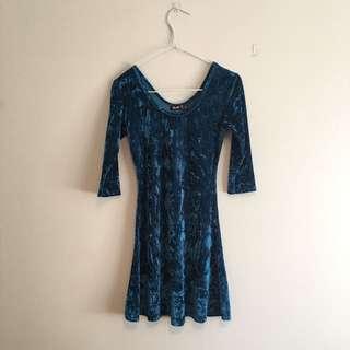 Blue Velvet Scrunch-look Dress