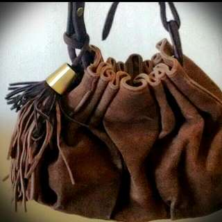 Real Leather Bucket Bag With Pom-poms