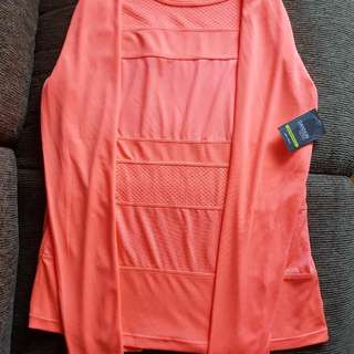 Danskin Performance Drimore Long Sleeve Tee - neon orange - US size L