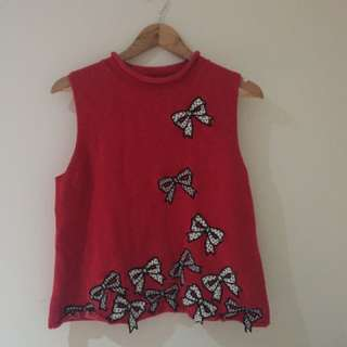 Vintage Red Bow Knit Sleeveless Top