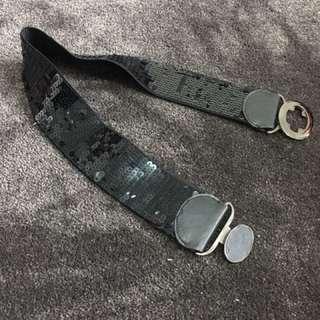 Black Sequin Belt