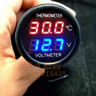 Car voltmeter and thermometer with USB port Charger SKU : 184
