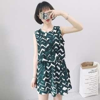韓版波浪條紋連衣裙