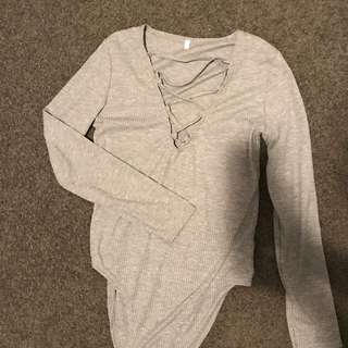Grey Sleeved Bodysuit