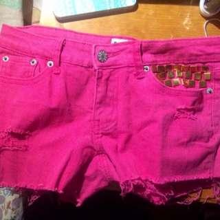 Pink Studded Ripped Denim Shorts