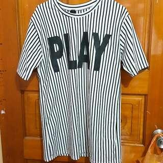 PLAY棒球條紋長版上衣