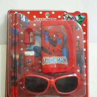 SPIDERMAN & HELLO KITTY Stationery & Sunshade Set Great For Birthday Party Goodie Bags Suitable For Personal Use