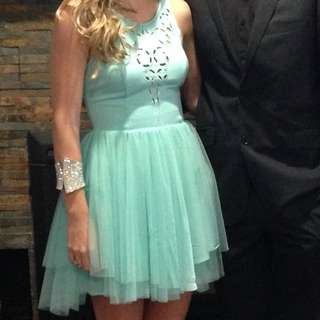 Blue Tulle Cut Out Dress