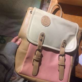 Pink+White Leather Korean Backpack