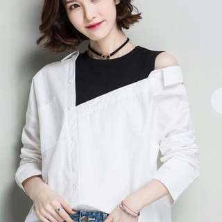 (L) Asymmetric Mock Two Piece Blouse
