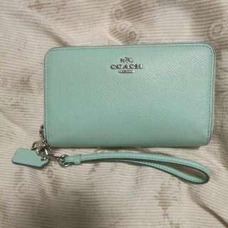 Coach Seafoam Green Phone Wallet