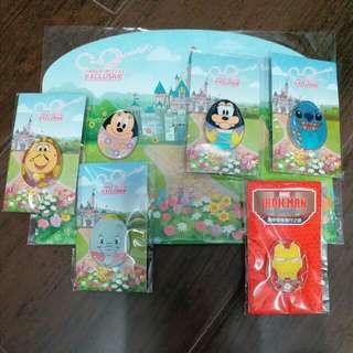 迪士尼花蛋徽章pin全套6個