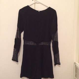 H&M Black Skort Dress With Lace US 4