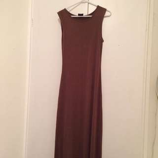 Temt Size Small Brown Full Length Dress