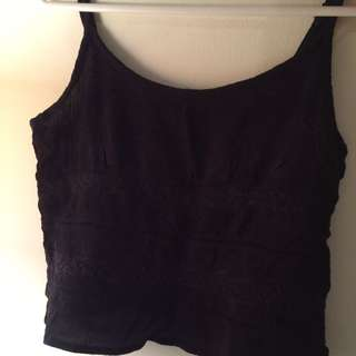 Sportsgirl Croptop Black Lacy Top Small